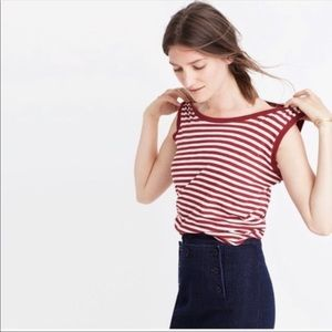 Madewell Red and White Basic Crew Neck Tank Small